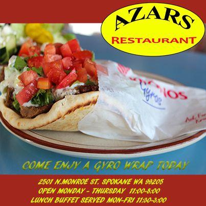What Is Your Favorite Item To Eat At Azars Azarsrestaurant Com Mygyrohero Azars Spokane Lunch Buffet Ethnic Recipes Gyro Wrap