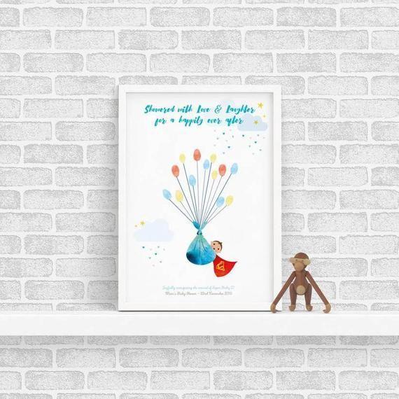 Superbaby! - Baby Shower New Baby Bundle - Unframed Personalised Balloon Fingerprint Tree - Thumbpri