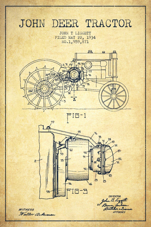 John Deere Tractor Vintage Patent Blueprint by Aged Pixel - canvas ...
