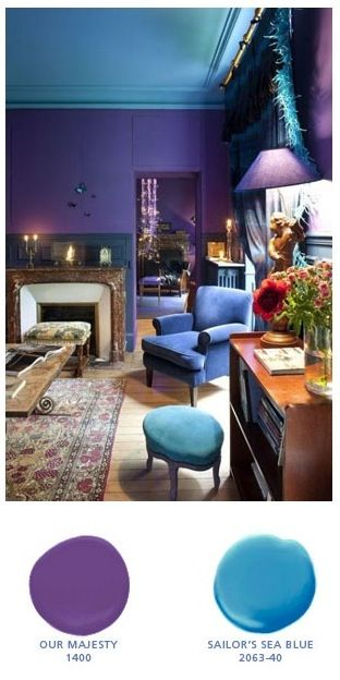Pea Theme Room With Our Majesty Royal Purple Sailor S Sea Blue Turquoise Interior Paint Color From Benjamin Moore