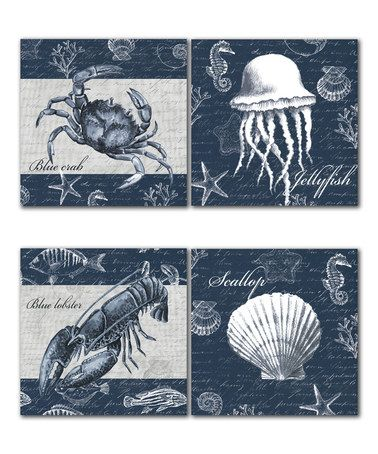 Another great find on #zulily! Navy Sea Life Panel - Set of Four #zulilyfinds