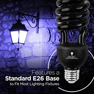 2 Pack Bluex Cfl Uv Blacklight Bulb 24w 100 Watt Equivalent E26 Spiral Replacement Bulbs Black Light Bulb Decorative Il Black Light Bulbs Bulb Light Bulb