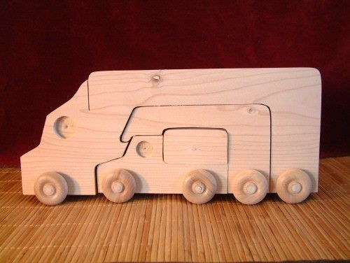 Big Stacker Trucks in Unfinished Pine by ClickityClack on Etsy - tons of unfinished wooden toys for amazing prices!