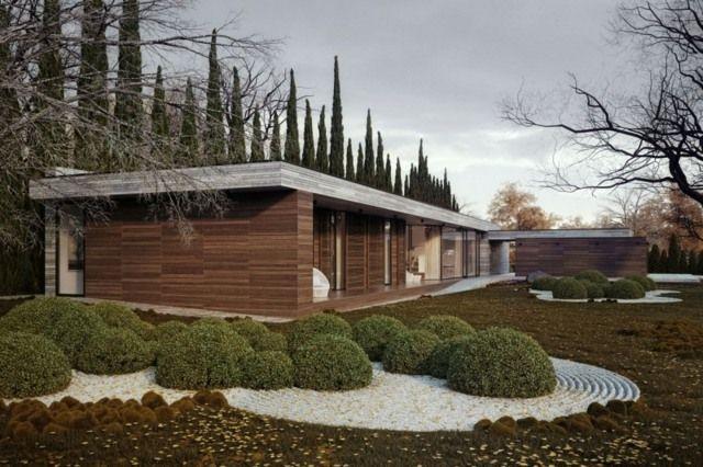 Fassadengestaltung holz  Holz Fassade gestalten Stauden mehrjährige Pflanzen Flachdach ...