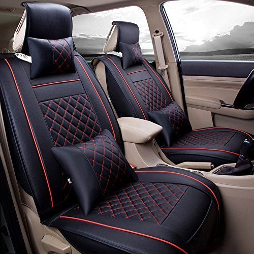 Universal Seat covers full set fit VW Polo black//red