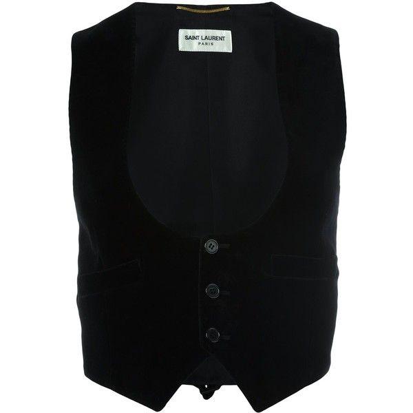 Saint Laurent velvet waistcoat (€965) ❤ liked on Polyvore featuring outerwear, vests, black, waistcoat vest, sleeveless vest, sleeveless waistcoat, velvet waistcoat and yves saint laurent