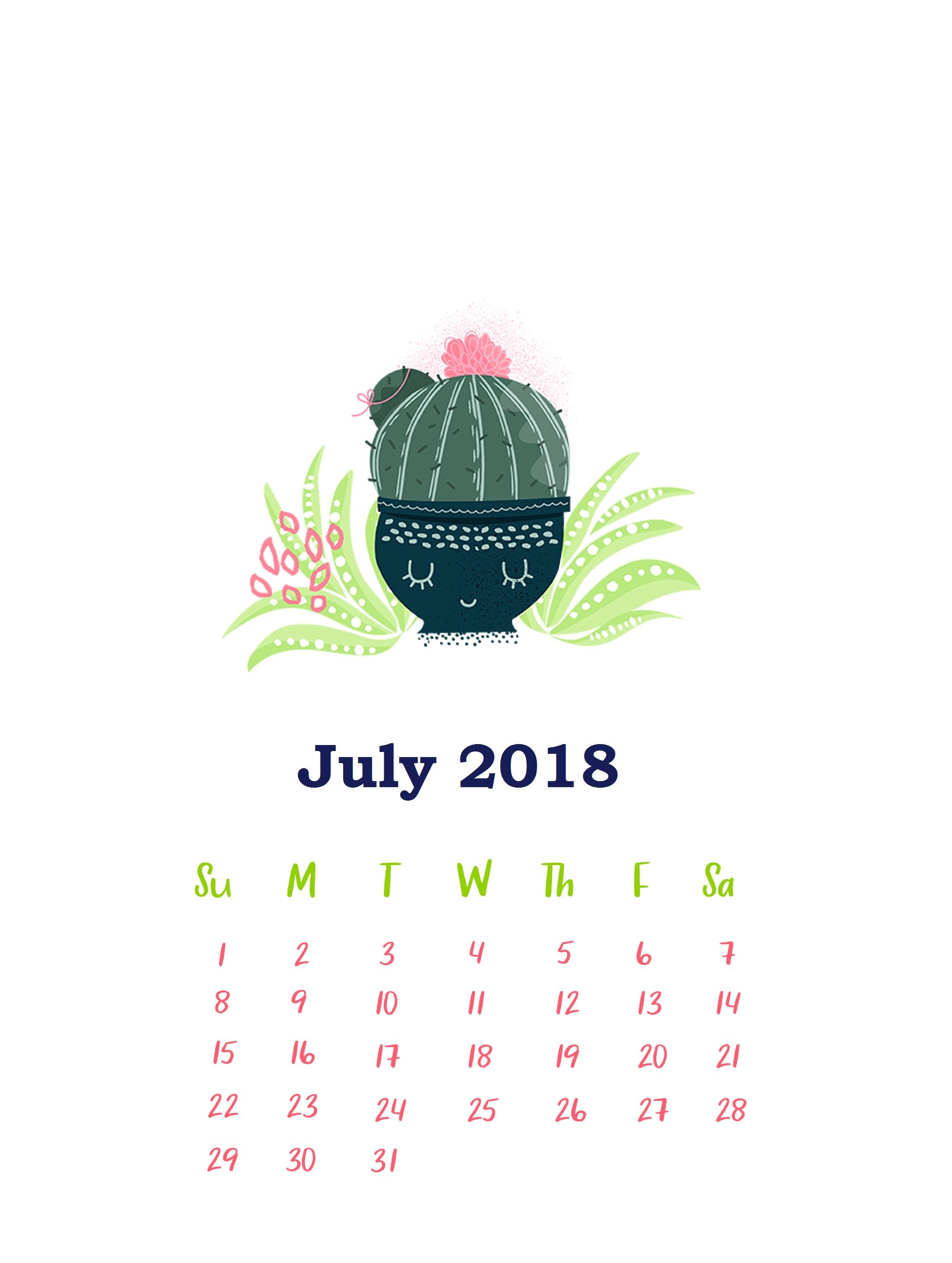 IPhone July 2018 HD Calendar Wallpaper