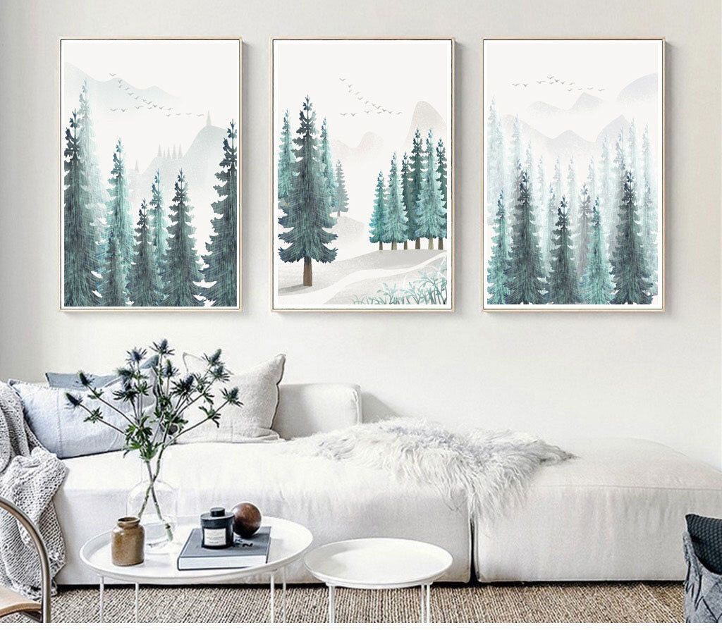 Modern Forest House: 3 Sets Of Pine Tree Forest Print, Nature Printable Wall