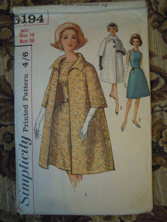 Vintage 50s Simplicity Swing Jacket Dress Bust 36 Gorgeous Sewing ...