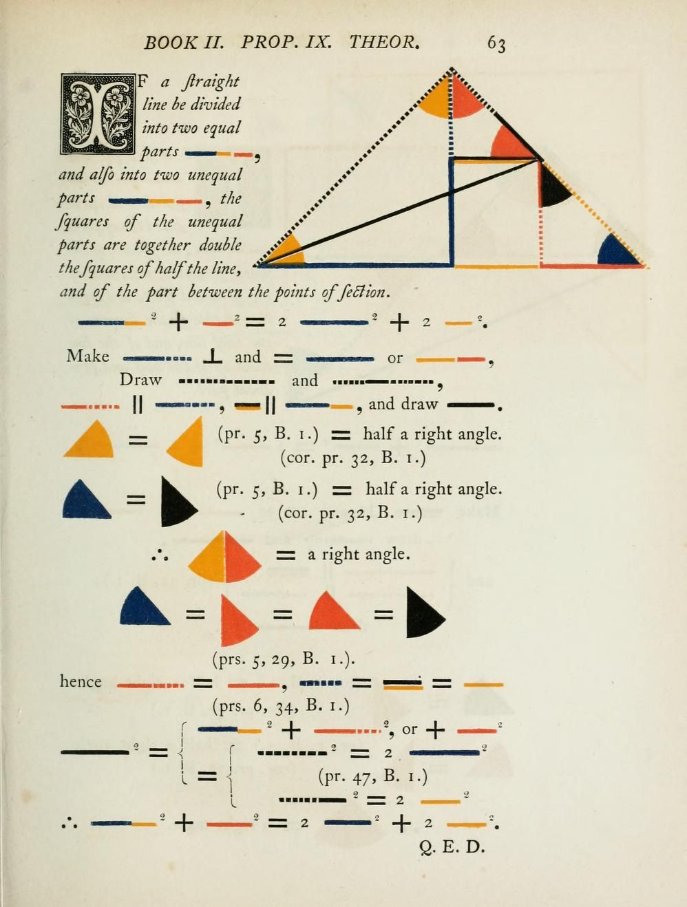 The first six books of the Elements of Euclid, in which coloured
