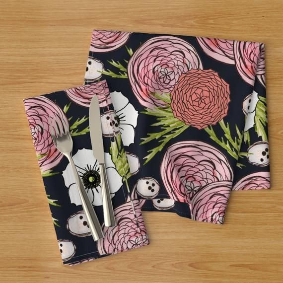 Japanese Garden Dinner Napkins (Set of 2) - Night Garden by rima_tessman - Floral Camellias  ...#camellias #dinner #floral #garden #japanese #napkins #night #rimatessman #set