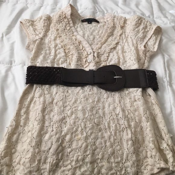 Cream blouse with brown belt Lace type blouse with cami underneath it. Cap sleeves with two buttons and size zipper.  Has a brown belt with it. It's a three piece set. HeartSoul Tops Blouses