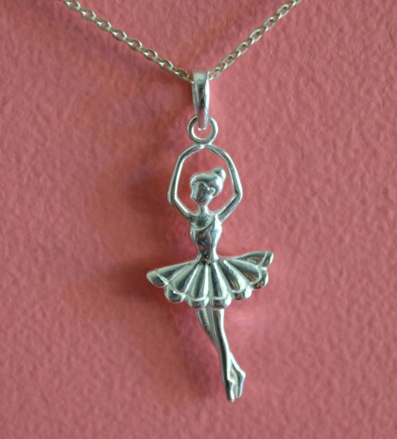 925 sterling silver ballerina ballet dancer charm necklace 925 sterling silver ballerina ballet dancer charm necklace dancer necklace new mozeypictures Image collections