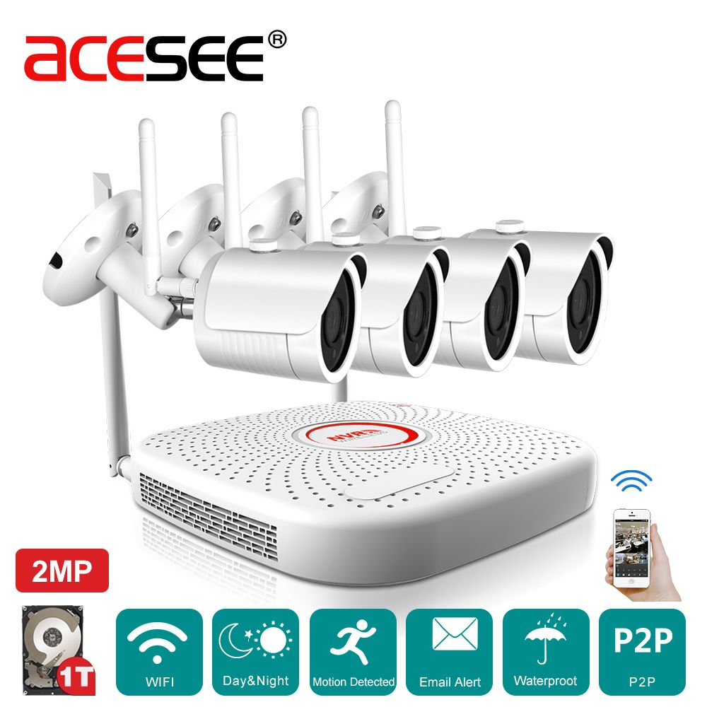 Acesee Home Surveillance Camera CCTV System 4CH 1080P Wireless NVR ...