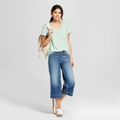 6b538125709 Women s Short Sleeve Monterey Pocket V-Neck T-shirt - Universal Thread Mint  (Green) XL