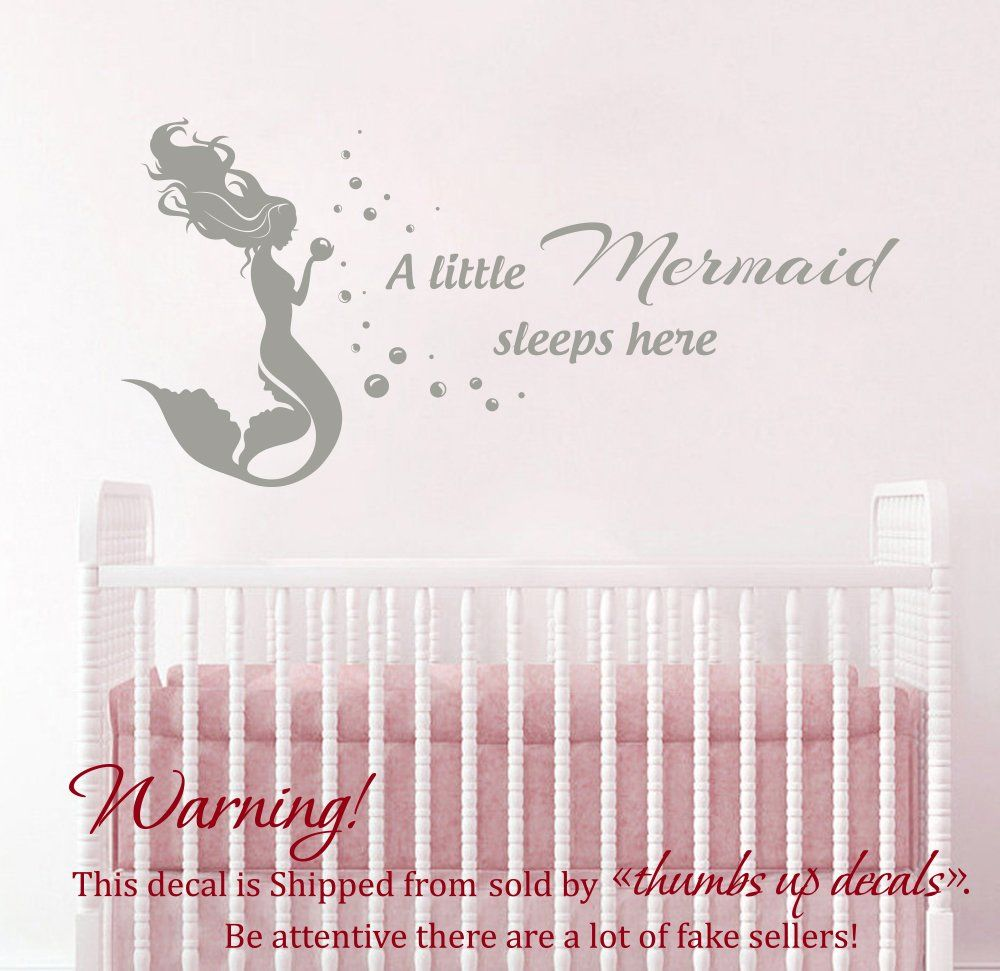 Mermaid Wall Vinyl Decal Quote Vinyl Sticker Quote Decal For Girl
