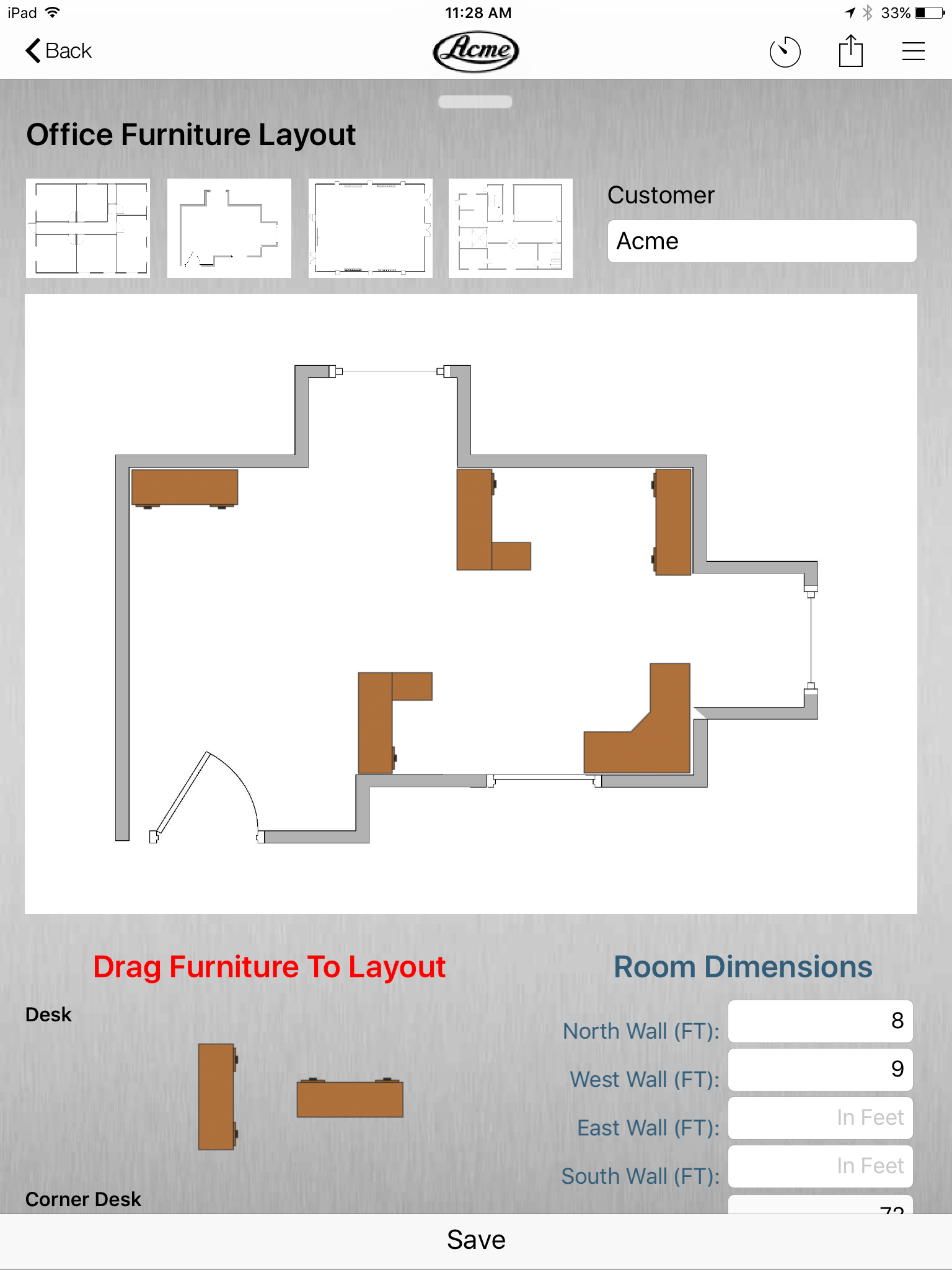 Office furniture layout form example on the inBound app