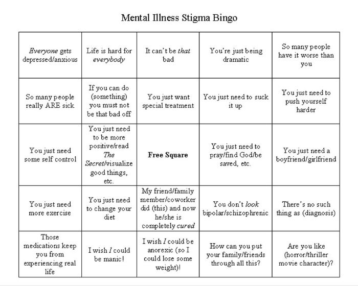 stigma bingo  examples of what may be said to an