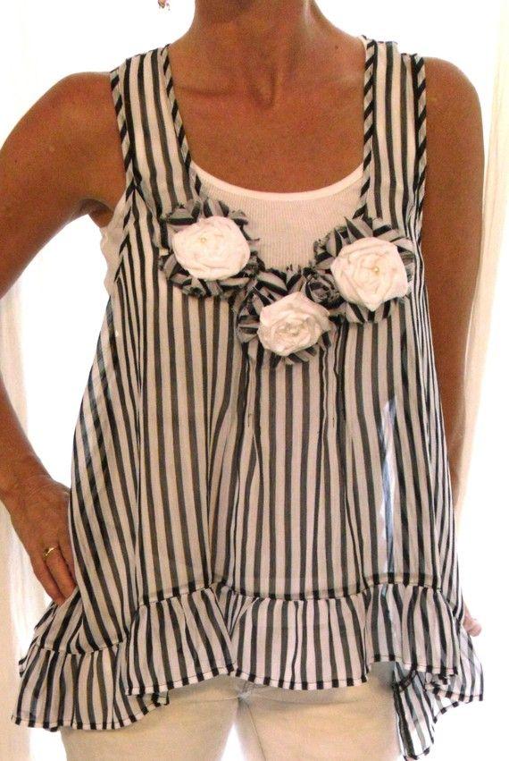 Vintage Style Shabby Chic Blouse Shirt RUffle Rosette French Market English rose Paris Runway L