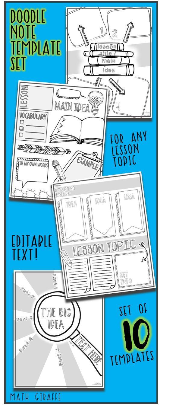 editable doodle note templates set 1 pinterest notes template