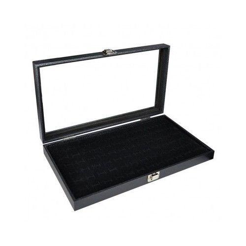 Jewelry Display Cases Portable Showcase Ring Velvet Insert Box Glass