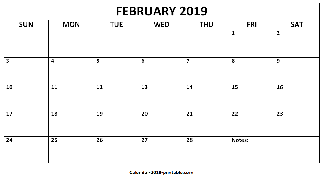 Month Of February Calendar 2019 Monthly Calendar February 2019 Template Free Download | Free