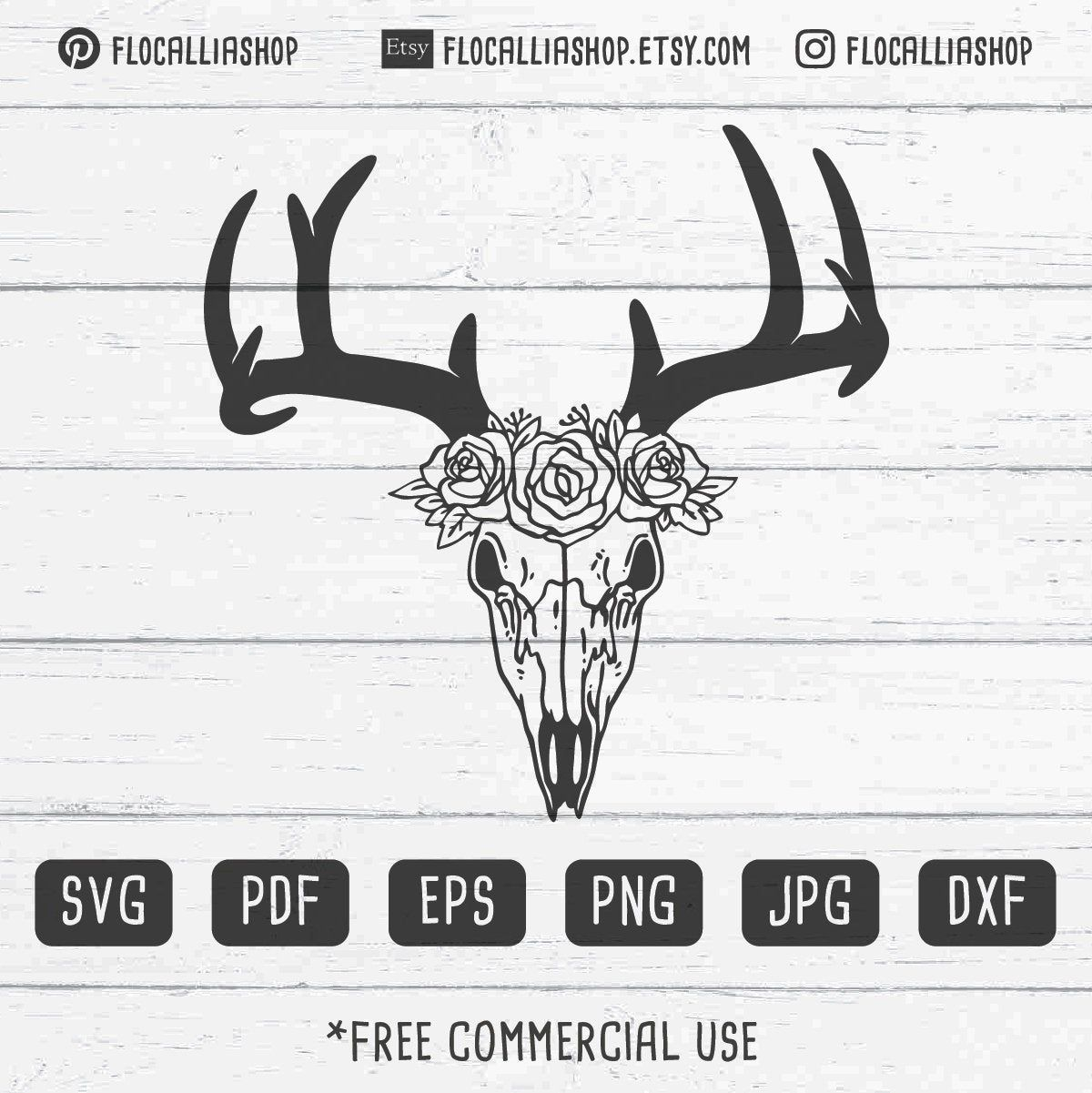 Deer Skull svg file, Deer Skull with Flowers SVG, Deer
