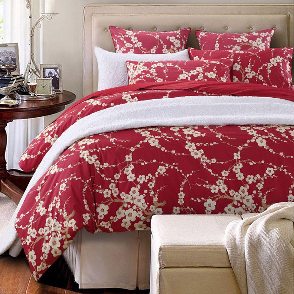 Japanese Cherry Red Blossom Bedding Duvet Cover in Maroon
