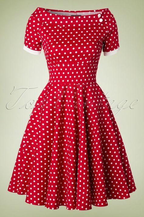 ebe305d5062 50s Darlene Polkadot Swing Dress in Red | Pin Up Style - Retro ...