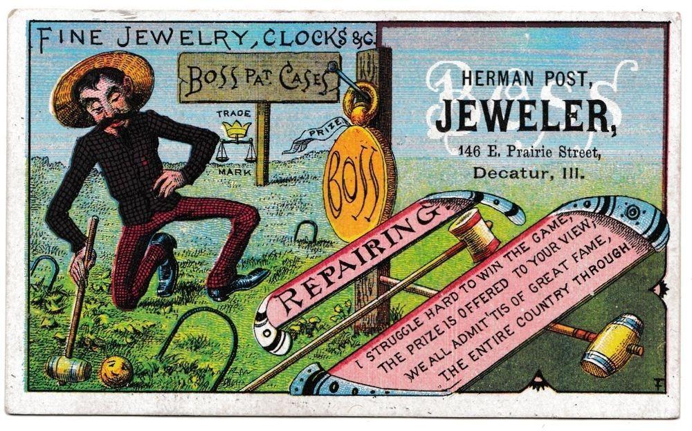 Boss Pat. Cases Advertising Trade Card Croquet Herman Post Decatur, IL Antique