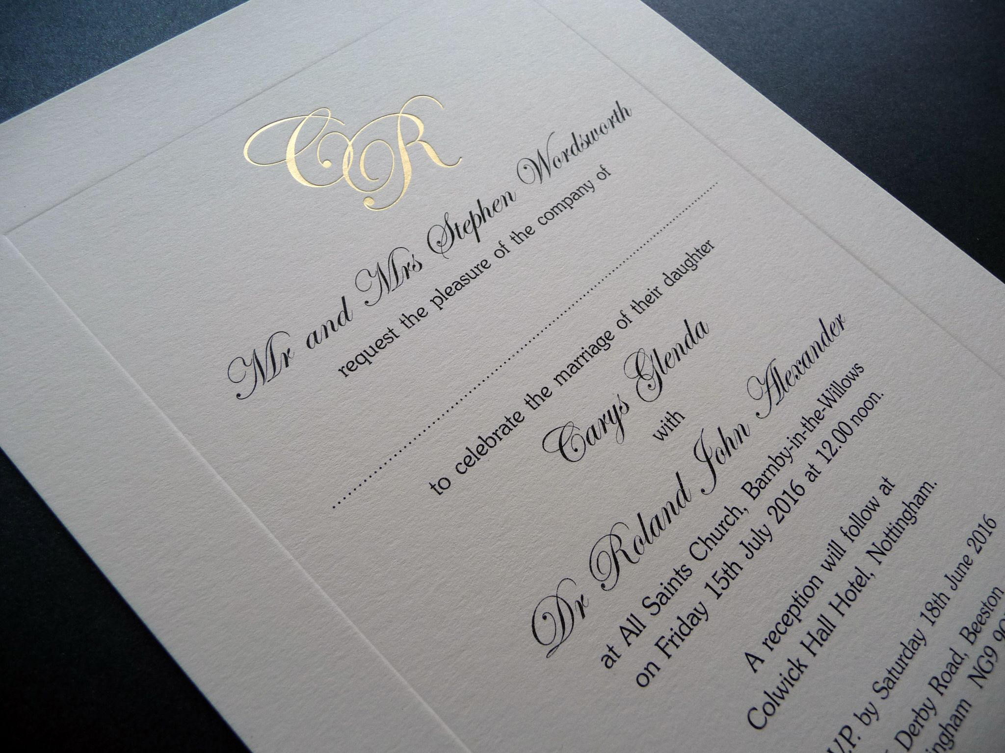 Wedding invitation with sunken panel and gold foiled initials at the ...