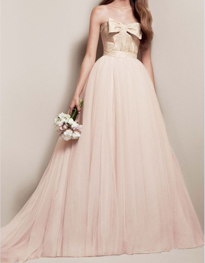 White By Vera Wang Matelasse Floral Pink Blush Gold Wedding Dress ...