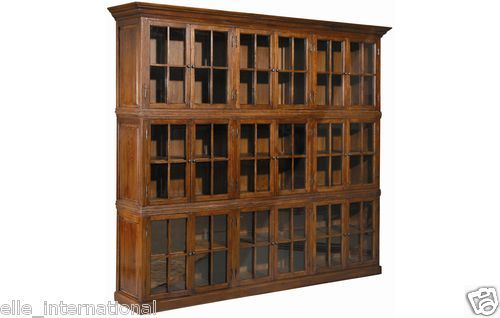 Solid Oak Barrister Bookcase Antique Law Firm Style Glass Doors New