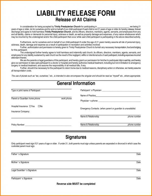 Liability Release Form template Pinterest Template - insurance release form