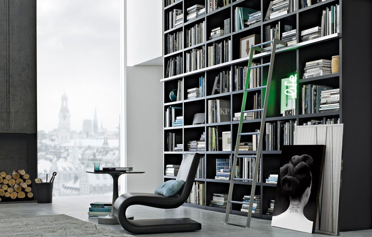 Librerie Componibili Poliform.Libreria Wall System Bookshelf Home Library Design