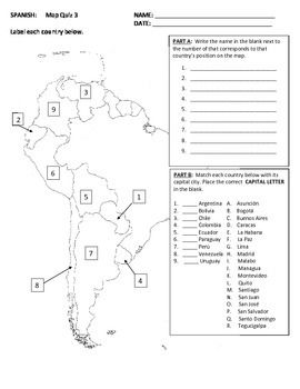 Map Quiz of Spanish Speaking Countries--South America in ...