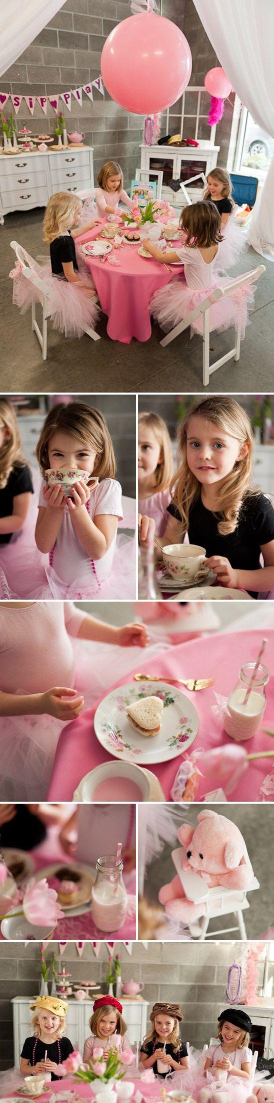 little girls tea party birthday idea, love it!!