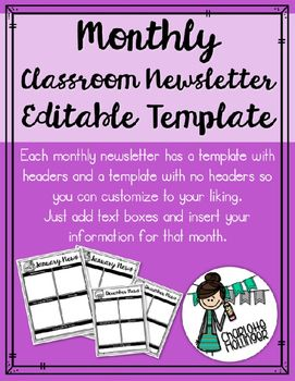 Editable Monthly Classroom Newsletter Printer Friendly  Homework