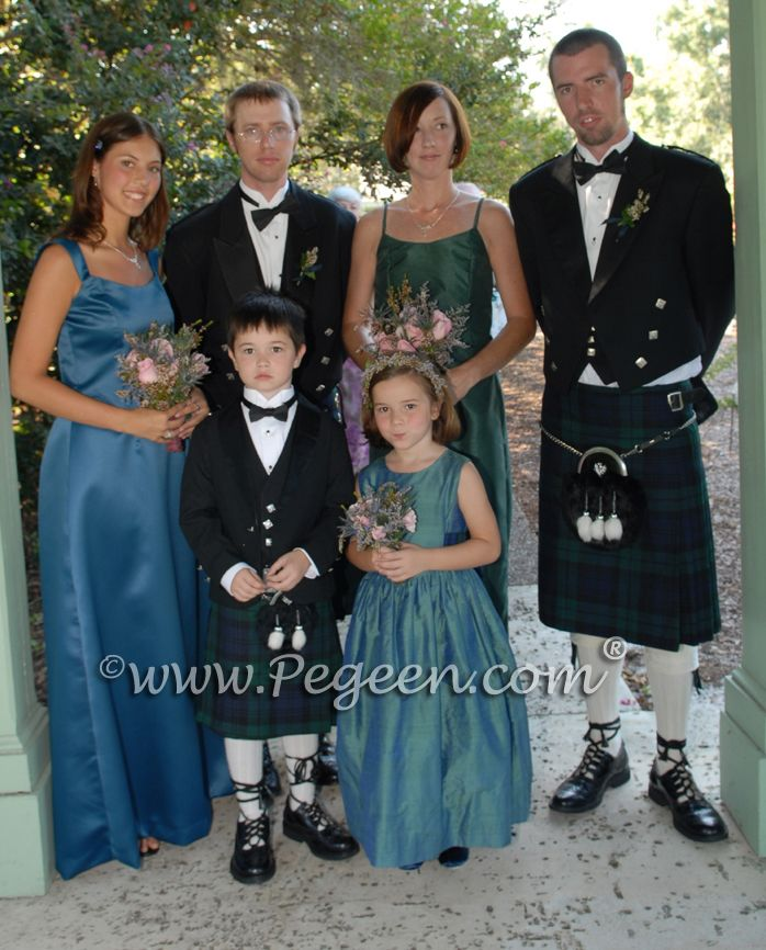 b692e09f42a flower girl dresses for Scottish Kilt wedding. Available in 200+ colors of  silk