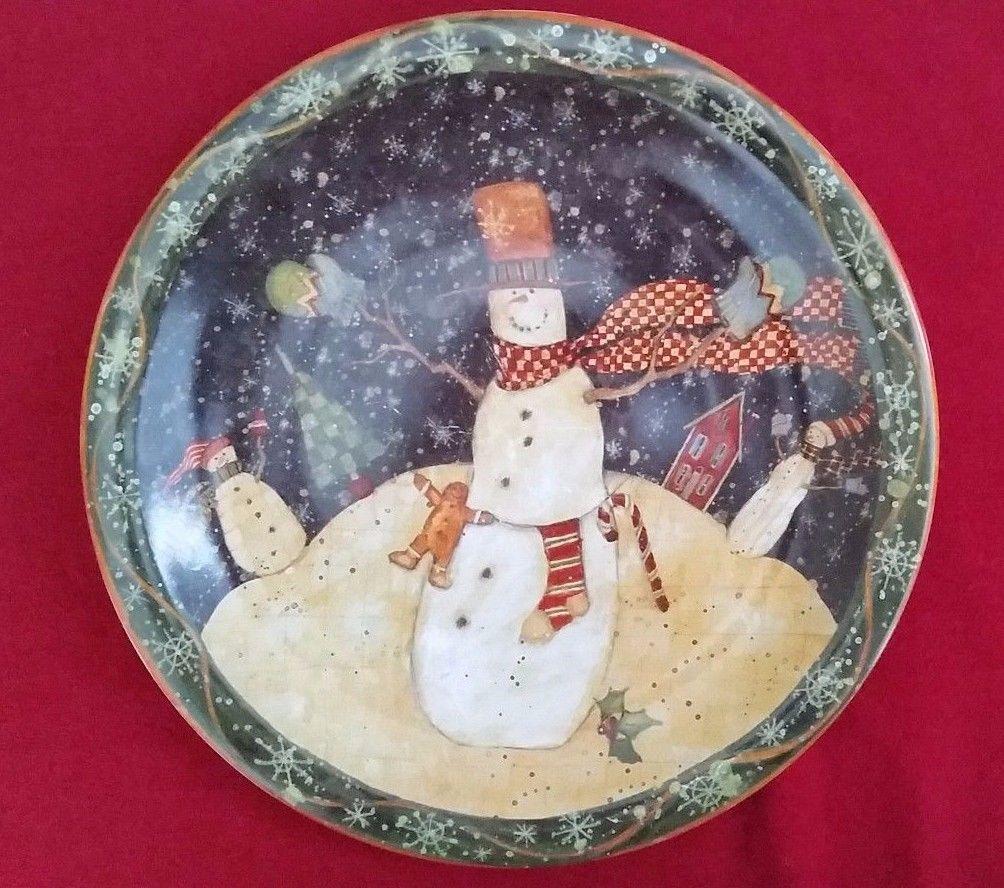 Susan Winget Folk Snowman Dinner Plate 10.5\