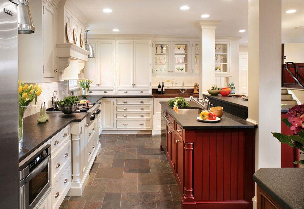 Idées de déco pour une cuisine de style moderne rustique Kitchen - Cuisine Moderne Design Avec Ilot