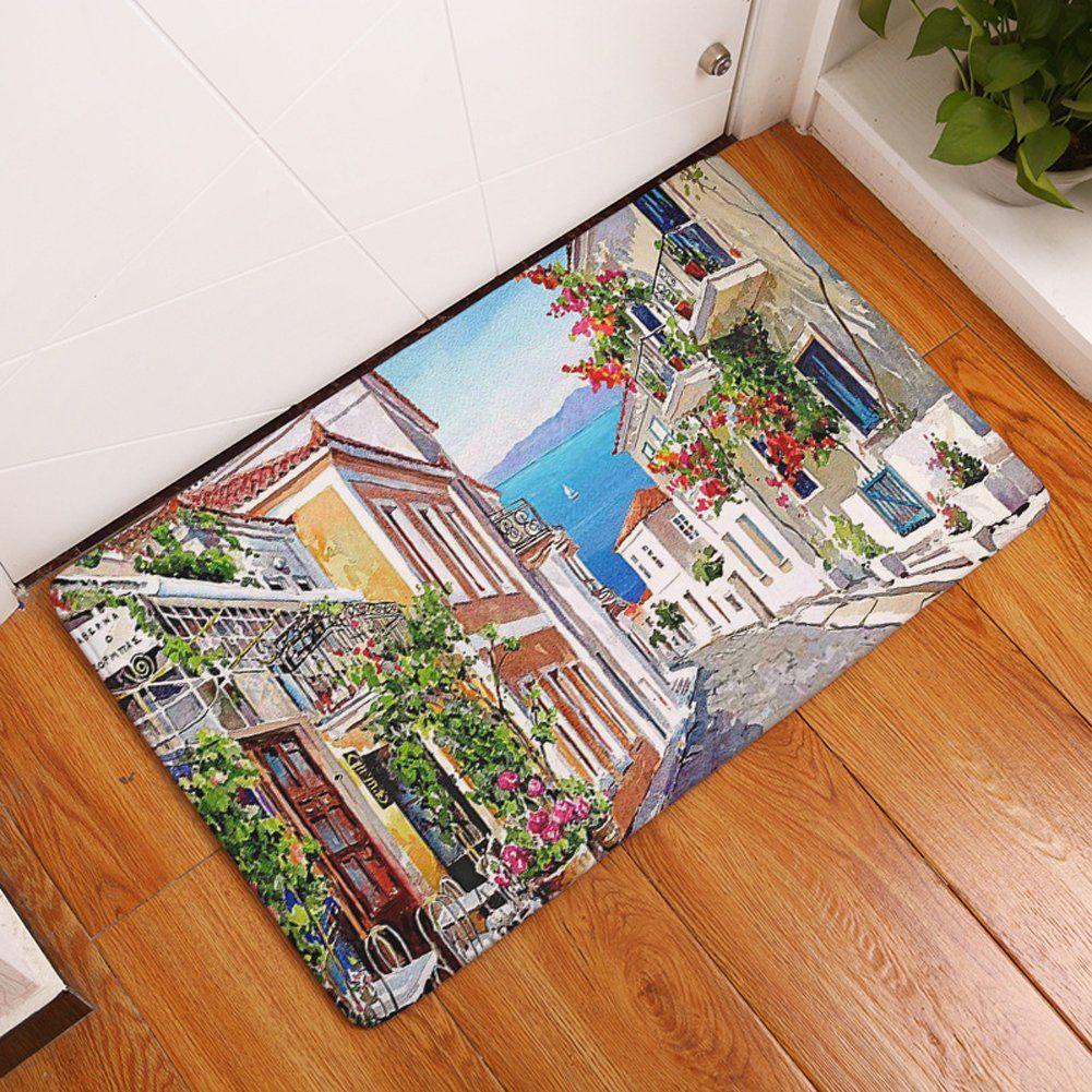 Yjbear Thin Yellow House Print Rectangle Doormat Entry Mat Indoor