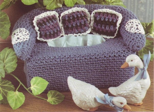 Decorative Couch Tissue Box Cover Crochet Pattern