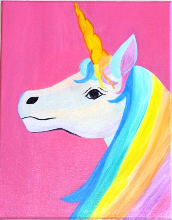 Rainbow Unicorn Rainbow Unicorn Unicorn Painting Kids Canvas