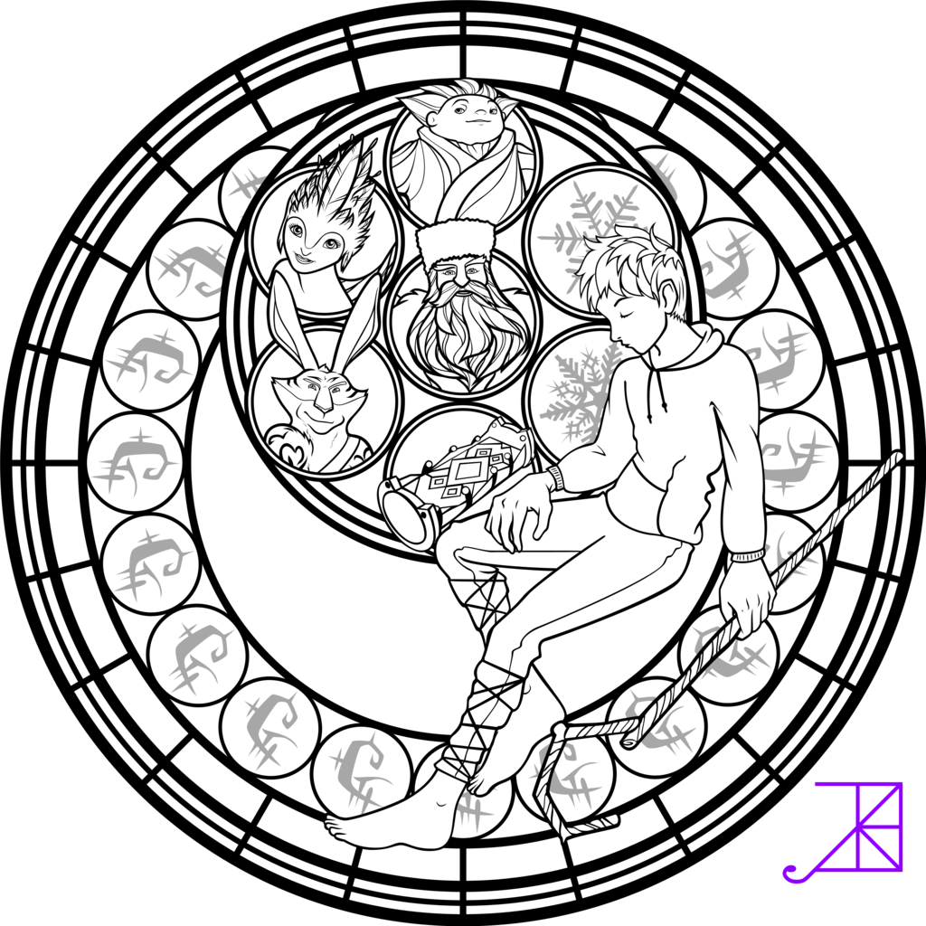Jack Frost Stained Glass Coloring Page by AkiliAmethyst