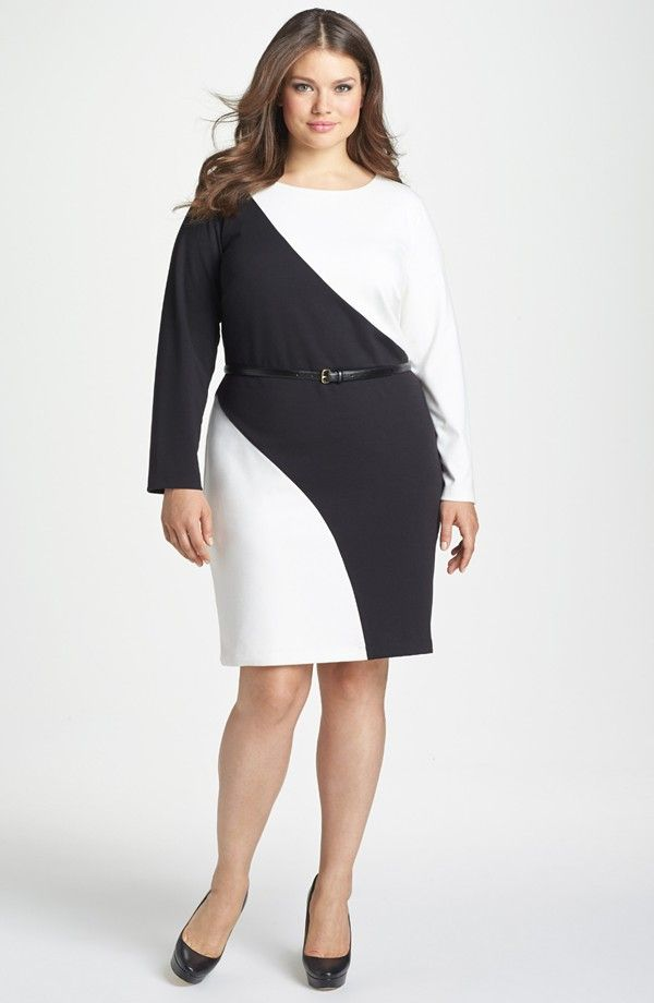 Colorblock Belted Ponte Sheath Dress Plus Size Plussize Dress