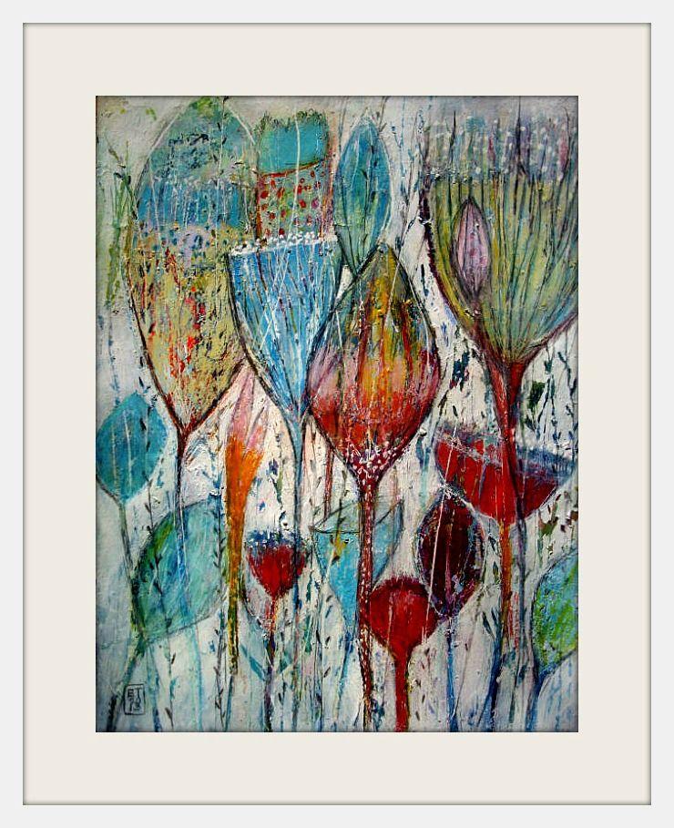 Work On Paper Size 30x40cm Acrylic Ink Oilpastels Gesso Elke