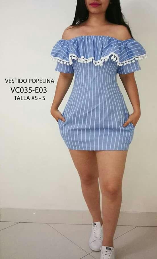 722a3043d Vestido en popelina Ropa Elegante Para Dama