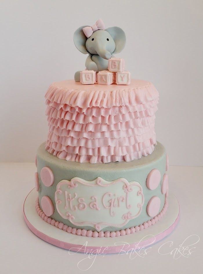 Baby Elephant Topper Pink And Soft Gray Baby Shower Cake Baby