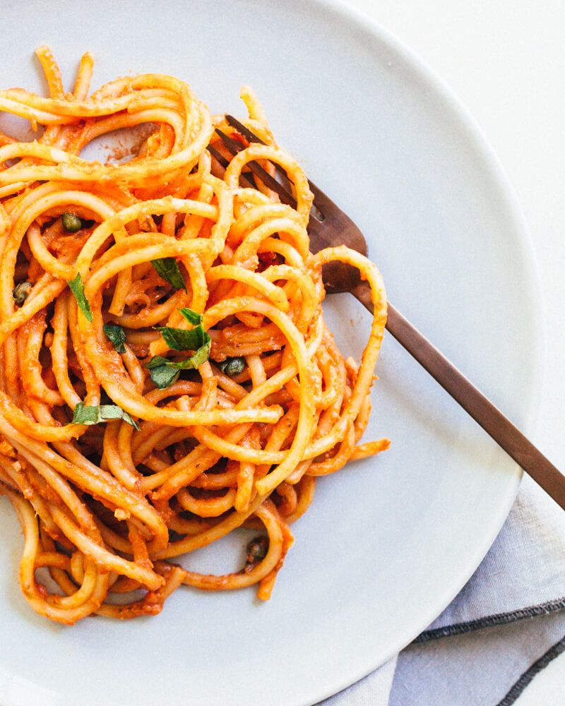 Vegan Spaghetti with Marinara Sauce This easy vegan spaghetti has a superb vegan marinara sauce of garlic, shallots, capers, and a bit of cashew cream. Pasta at its finest!